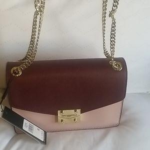 Karl Lagerfeld NWT SACHEL PINK AND Burgundy Bag